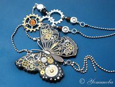 Кулоны, подвески ручной работы. Ярмарка Мастеров - ручная работа Стимпанк кулон, колье,бабочка, кулон в стиле стимпанк/ Steampunk. Handmade.