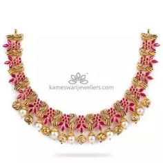 Buy Necklaces Online   Kanti Carved With CZ Pachi Pendant from Kameswari Jewellers Pearl Necklace Designs, Antique Necklace, Necklace Set, Gold Jewelry Simple, Necklace Online, Antara