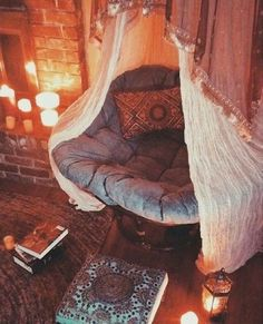 Cozy Reading Nooks to Burrow in This Fall Set the mood for reading with faux candles near a big comfy chair.Set the mood for reading with faux candles near a big comfy chair. Dream Rooms, Dream Bedroom, Cozy Bedroom, Master Bedroom, Bedroom Simple, Hippy Bedroom, Bedroom Romantic, Teen Bedroom Chairs, Bedroom Decor Boho