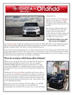 The 2012 Scion xB by Toyota of Orlando    http://www.slideshare.net/ToyotaofOrlando/the-2012-scion-xb-in-orlando