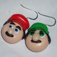Super Mario Bros Earrings Luigi Fimo Handmade. http://www.judesjewels.co.uk/ourshop/prod_2523235-Super-Mario-Bros-Earrings-Luigi-Fimo-Handmade.html £8