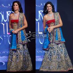 Katrina Kaif Looking Gorgeous In Red ANd Blue Bridal Lehenga Chol