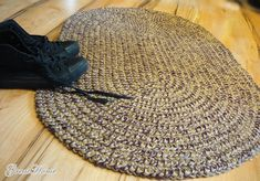 Oval Braided Rug 2 x 3 ft Natural jute Crochet by GreatHome