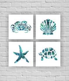 Sea Turtle Crab Starfish Sea shell silhouette by myfavoritedecor