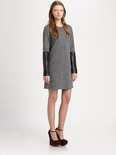 leather accents are hot, hot, hot. exposed zippers are not, not, not, though....10 Crosby Derek Lam - Leather-Trim Jersey Dress - Saks.com