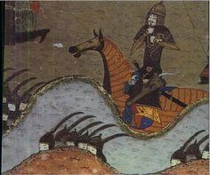 Mongol heavy cavalry. 12-14 century, Persian miniature