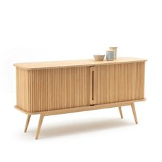 Buffet long 2 portes coulissantes wapong naturel La Redoute Interieurs | La Redoute 60s Furniture, Built In Furniture, Furniture Design, Buffet Design, Counter Design, Curtain Styles, Contemporary Furniture, Sideboard, Outdoor Chairs