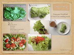 Врап из листьев салата. Возьми листья салата, намажь на них плавленный сыр (или любой мягкий сыр), добавь помидоры, авокадо, черный перец (травы по вкусу) и мясо (рыбу или вообще без ничего). Заверни хорошенько и ... Приятного аппетита!