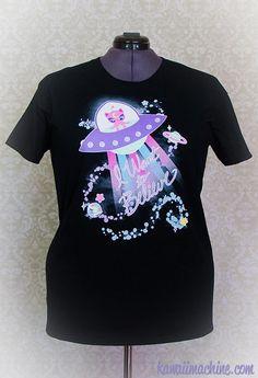 Conspiracy Cutie Alien Kitty Graphic T Shirt Kawaii Fairy Kei Pastel Goth