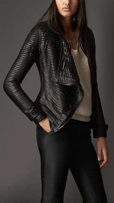 BURBERRY   Black Strip-Stitched Lambskin Jacket -