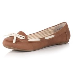 Tan leather look ballerina boat shoes with white interlace and bow detail. Polyurethane upper.