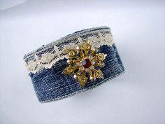 Upcycled Denim Cuff Bracelet Tattered Vintage ♥ by truevintagestyle, $15.00