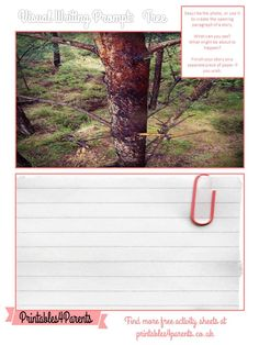 Here's a free printable Tree writing prompt sheet for your children, featuring original Printables4Parents photography.