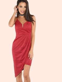 #AdoreWe MakeMeChic Womens - MAKEMECHIC - Faux Suede V Asymmetrical Dress BURGUNDY - AdoreWe.com