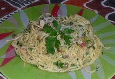 Tejszínes-cukkinis tészta Bacon, Spaghetti, Vegetarian, Vegan, Dishes, Ethnic Recipes, Foods, Drink, Twitter