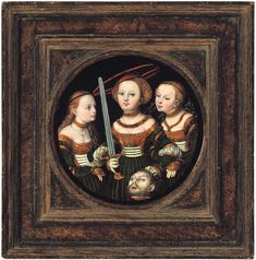 """Lucas Cranach the Elder, Judith with the Head of Holofernes, 1525 © Arp Museum Bahnhof Rolandseck / photo: Mick Vincenz Oil on wood, ⌀ 14.6 cm (inner measurement) Inscribed on the right-hand edge: """"1525"""" and with a winged dragon"""