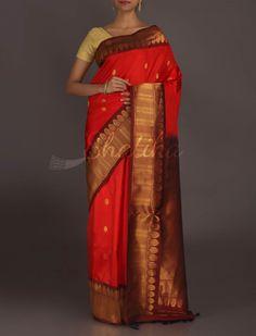Kavita Rustic Orange Dressy Border #GadwalRealZari #SilkSaree