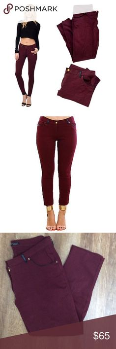 "Zara Burgundy Skinny Pants Like new Zara burgundy skinny stretch jegging pants. Black faux leather  trim on pockets and belt loops. Size XL  inseam 28"" waist 34"" total length approximately 37"" Cotton Polyester elastic Blend. Zara Pants Skinny"