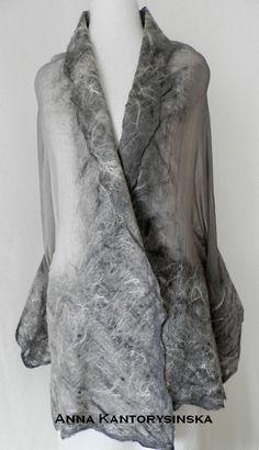 #nuno felted silk scarf shawl SMOKE handmade art