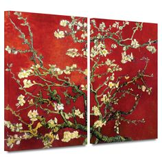 'Interpretation in Red Almond Blossom' by Vincent Van Gogh 2 Piece Print of Painting Gallery-Wrapped on Canvas Set