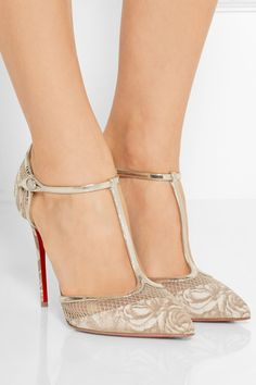 Heel measures approximately 100mm/ 4 inches Beige mesh, gold leather, multicolored faille Button-fastening ankle strap Made in Italy