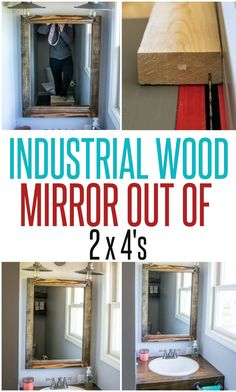 Scrap Wood Mirror ~ Make a wall mirror for little-to-no cost using scrap 2x4s and also learn a new woodworking skill - how to cut a rabbet in wood!