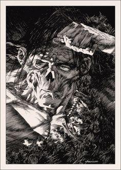 Art by Bernie Wrightson 内田クンが何気にフランケンシュタインがお気に入りっぽいのは、ソムニウムに出てきたり、Liddellの中でフランケンシュタインを演じた俳優のボリス・カーロフという名の人物が出てくるぐらいだしね。たぶん1931年の映画「フランケンシュタイン」のデザインがお好きなのでしょう。内田クンがLiddellを描いている頃、地球の裏側でフランケンシュタインを描いてたコミック・アーティストが居たなんて面白いなと思ったの。映画監督のギレルモ・デル・トロもお気に入りのバーニー・ライトマンのフランケンシュタインのデザインはそれとは違うのだけど、この緻密な絵を見ると内田クンの作品を思い出してしまう不思議な縁を感じるのは双方とも絵からも伝えようとする力の凄まじさかな。
