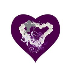 Cupid Floral Pearls Heart Dark Purple Sticker by #MoonDreamsMusic #HeartSticker #CupidHeart #PearlHeart #FloralSwirl #ValentinesDay