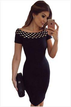 dfd20a3214eda9 Nieuwe 2016 zomer vrouwen zwart jurken sexy slash hals klinknagels bodycon dress  korte mouw vestidos club