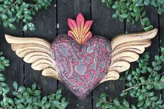 Large Wooden Heart with Wings & Milagros, Folk Art Michoacán Mexico, LOVE TOKEN!