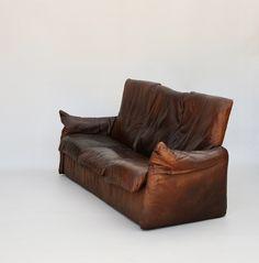 Dutch Mid Century Leather Sofa by van den Berg for Montis Retro Furniture, Antique Furniture, Mid Century Furniture, Leather Sofa, Den, Dutch, Sofas, Home Decor, Couches