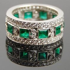 Platinum Diamond Emerald Ring - Yafa Jewelry