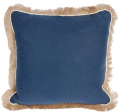 Linen Pillow with Pipe and Jute Fringe (Multiple colors)