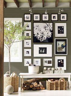 Wall color is Sparrow by Benjamin Moore. Beautiful dark taupe/gray. Would be a beautiful cabinet color!