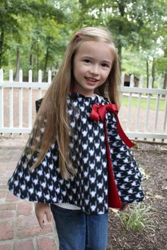 Cozy Hooded Cape for Girls (sizes 3months - 10 years)