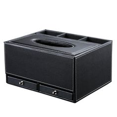 Amazon.com - KINGFOM™ Creative Tissue Box Holder with 3 Compartments Holder and 2 Small Drawer, Multi-function PU leather Tissue Box Cover Desk Organizer (Classic Black) -