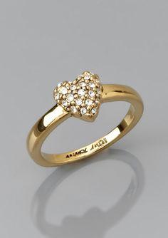 BETSEY JOHNSON Mini Pave Heart Ring
