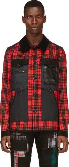 Junya Watanabe: Black & Red Plaid Modified Construction Jacket | SSENSE