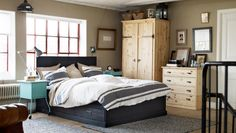 Rustic bedroom with solid pine furniture and natural materials