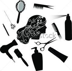 """Buy the royalty-free Stock vector """"""""Fashionable hairdress the hairdresser the hair dryer a hairbrush"""" online ✓ All rights included ✓ High resolution vec. Silhouette Vinyl, Silhouette Cameo Projects, Vinyl Crafts, Vinyl Projects, Ceramic Hair Straightener, Stencil Patterns, Paint Shop, Hair Brush, Cosmetology"""