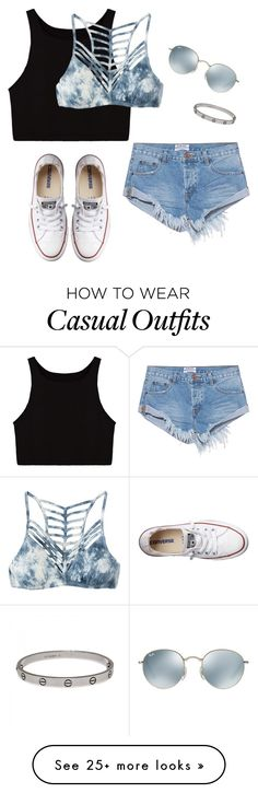 """Casual Day"" by sarahbee00 on Polyvore featuring RVCA, One Teaspoon, Converse, Ray-Ban and Cartier"