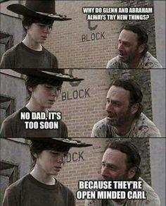 The Walking Dead Walking Dad Jokes, Walking Dead Quotes, Walking Dead Funny, Walking Dead Zombies, Walking Dead Coral, Carl The Walking Dead, The Walk Dead, Twd Memes, Funny Memes