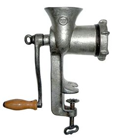 Elbow grease - Manual Food Grinder - I have other means (electrically) but I don't know what I'd do without my old standby !