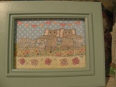 """beautiful framed 8 x 6"""" paper collage picture, handmade using beautiful papers and featuring a gorgeous elephant family by rhondastrees on Etsy"""