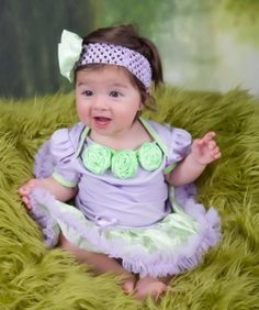 Lavender Lime Polka Dots Satin Rosettes Bodysuit Tutu and Headband