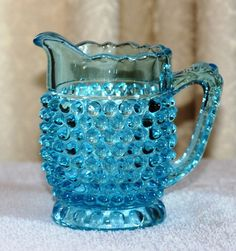Fenton Blue Hobnail Cream Pitcher by SweetDiggs on Etsy
