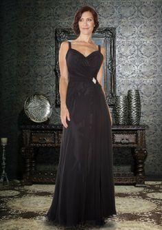 A-line Chiffon Straps Natural Waist Floor-Length Zipper Sleeveless Brooch Grape�Mother of The Bride Dress picture 2