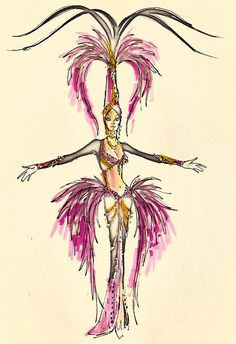 Costume design drawing, black and fuchsia feathered showgirl costume, Las Vegas, 1974 Showgirl Costume, Vegas Showgirl, Costume Design Sketch, Baile Latino, Fire Flower, Old Hollywood Movies, Theatre Costumes, Bob Mackie, Showgirls