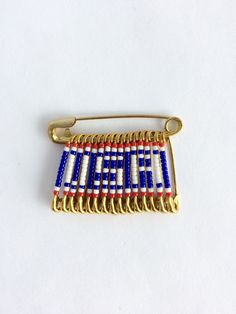 USA Flag World Cup 2019 Handmade Beaded Flag Pin Brooch Safety Pin Flag Birthday Gift Veteran's Day Pin Gift for Her by FlagPinsbyAnnette on Etsy Safety Pin Art, Safety Pin Crafts, Safety Pin Jewelry, Safety Pin Earrings, Safety Pins, Memorial Day, American Flag Pin, Handmade Birthday Gifts, Flag Pins