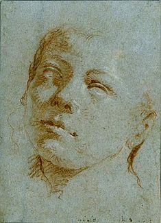 GIOVANNI BATTISTA TIEPOLO - The Head of a Youth, Looking Up to the Left Red chalk, heightened with touches of white chalk, on blue paper. Numbered 1054 on the verso. 284 x 204 mm. Life Drawing, Figure Drawing, Painting & Drawing, Chalk Drawings, Art Drawings, Classical Art, Old Master, Pencil Portrait, Drawing People